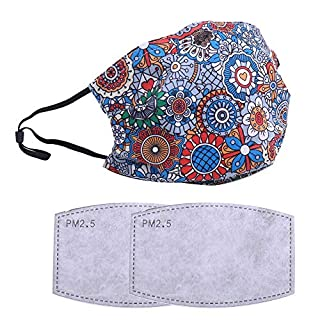 Reusable, Washable Fashionable Facial Covering - Includes 2Pcs Filters for Cycling Travel Outdoors