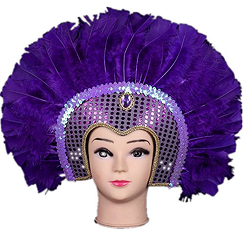 Sweenaly Halloween Indian feather mask Indian savage feather headdress (Carnival Costume Headdress)