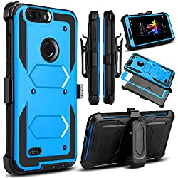 Venoro for ZTE Blade Z Max Case, ZMax Pro 2 Case, ZTE Sequoia Case, Heavy Duty Shockproof Full Body Protection Rugged Hybrid Case Cover with Swivel Belt Clip and Kickstand for ZTE Z982 (Blue)