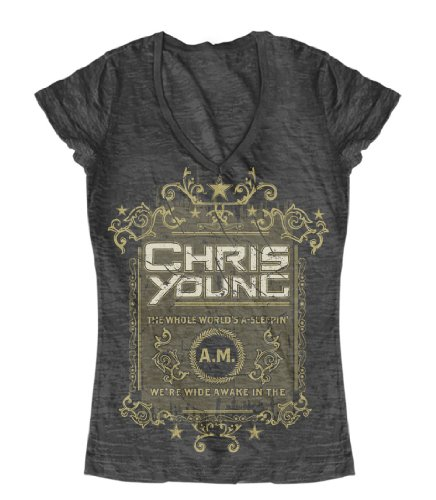 Chris Young The Whole Worlds A-Sleepin Juniors T-Shirt - Charcoal
