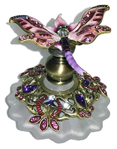 Welforth Jeweled Pink Dragonfly Enamel Round Crystal Ornate Perfume Bottle