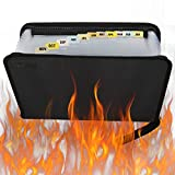 Fireproof File Folder,Water Resistant Expanding Money Document Bag for Legal Office Project, A4 Size 12 Pockets Zipper Closure Non-Itchy Silicone Coated Portable Filing Organizer Pouch(14.3' x9.8')