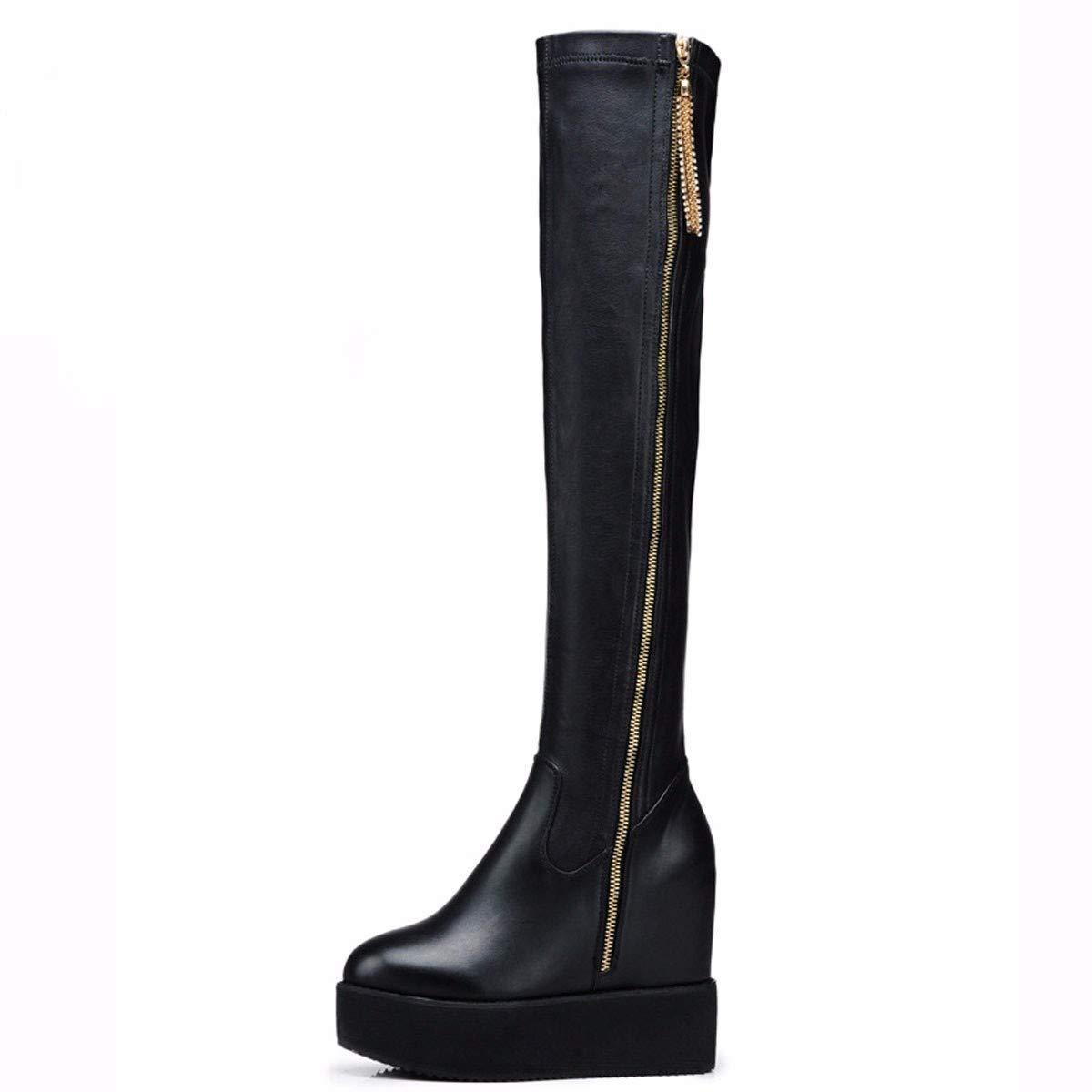 noir Thirty-eight GTVERNH Chaussures Femmes Pente Talon des Bottes Knight Bottes 5 Cm Et La Hauteur.
