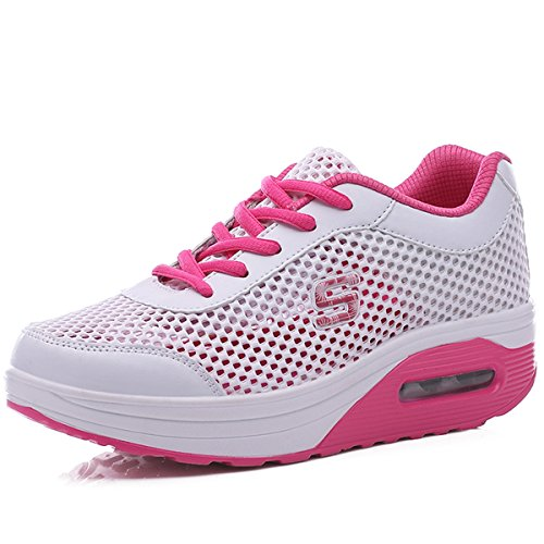 VECJUNIA Ladies Breathable Muffin Bottom Lace-Up Mesh Casual Shoes Pink WaRJa