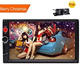 New Eincar Universal 2 Din Car MP5 Video Radio Player In Dash Built-in Bluetooth+Microphone With 7'' Multi Touch Screen Support HD Audio USB/SD FM Remote Control SWC +Free Backup Camera Included