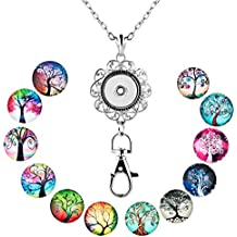 ShinyJewelry Office Lanyard Necklace Clip Badge ID Holder Pendant With 12pcs Snap Charm (Life Tree)