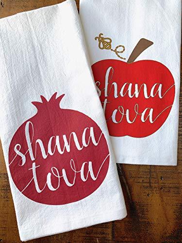 Rosh Hashanah Kitchen Towela Shana Tova Set of 2 (Apples Hashanah Rosh)