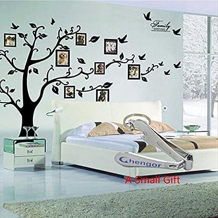 Amazon.com: Black 3D DIY Photo Tree PVC Wall Decals Adhesive Family ...
