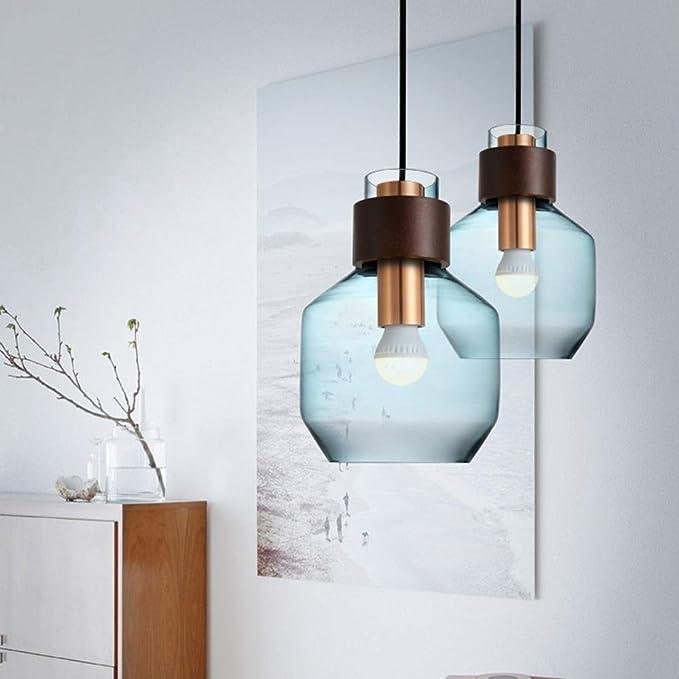 LAZ Moderne Simple Lampe Suspendue Bleu En Verre Artisan