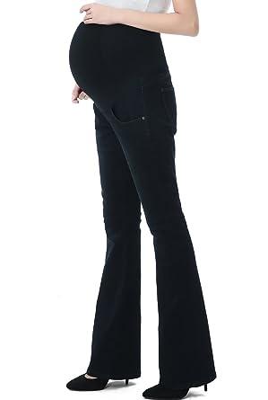 312002ed2780d Momo Maternity Womens Stretchy Full Panel Flare Leg Denim Jeans,Black Blue ,25