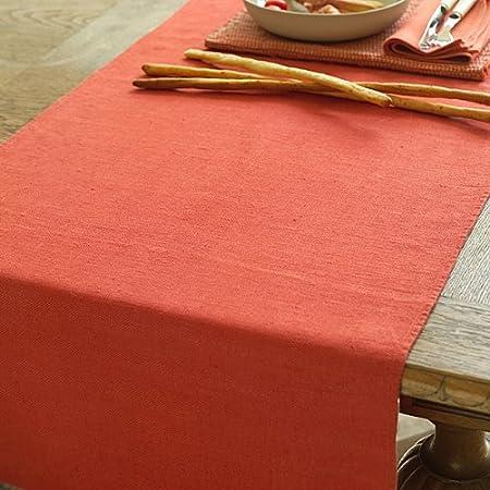 LinenMe - Camino de Mesa de Lino, Color Naranja, 41 x 250 c ...