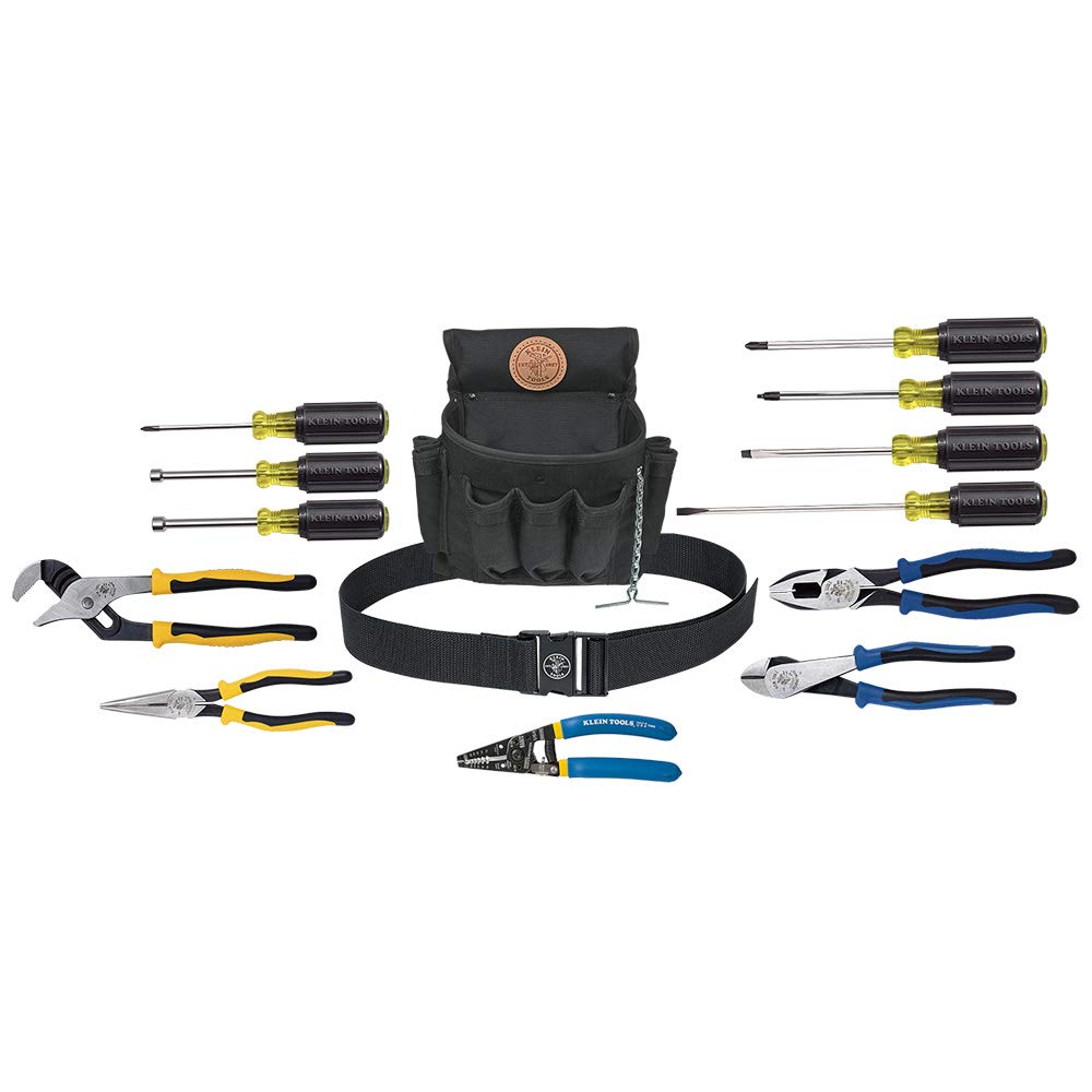 Klein Tools 92914 Journeyman Tool Kit, ProPack Apprentice Tool Set with 4 Pliers, 2 Nut Drivers, 5 Screwdrivers, Pouch and Belt, 14-Piece by Klein Tools