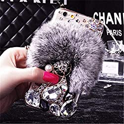 Black Fur Diamond Crystal Rhinestone Case for Oppo Mobile