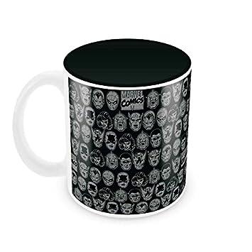 Marvel 'Comics All Faces Black' Round Ceramic Mug (7.62 cm x 9.4 cm)