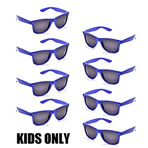 Neon Colors Party Favor Supplies Unisex Sunglasses Pack of 8 for Kids (8 Pack Royal Blue)