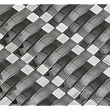 Ash Gray Blend Ripple Series 3D Wave Backsplash Glass Stone Mosaic Tile for Kitchen Bathroom (Sample)