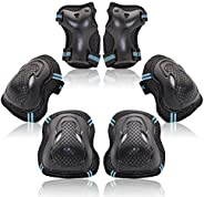 Protective Gear Set for Kids Youth Adult, Knee Pads Elbow Pads Wrist Guards 6 in 1 for Skateboard, Rollerblade
