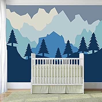 amazon com classic forest and mountain baby(boy girl) nursery wallclassic forest and mountain baby(boy girl) nursery wall decals (j115)