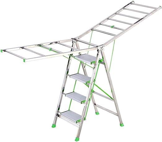 Nosterappou Escalera de la Ropa para Colgar en el Piso del balcón, Secadora Gruesa de Doble Uso Secadora de Ropa, Bastidor de Secado Plegable, Escalera de Secado de la Colcha de Secado:
