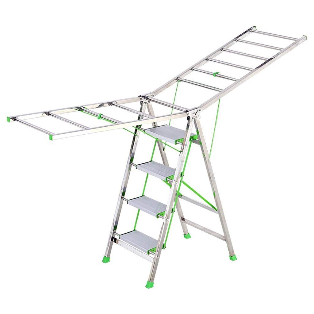バルコニーの床吊り服のはしご、厚い翼のデュアルユース乾燥服、折りたたみ収納乾燥ラック乾燥キルト梯子 Nosterappou B07QSQQR4S