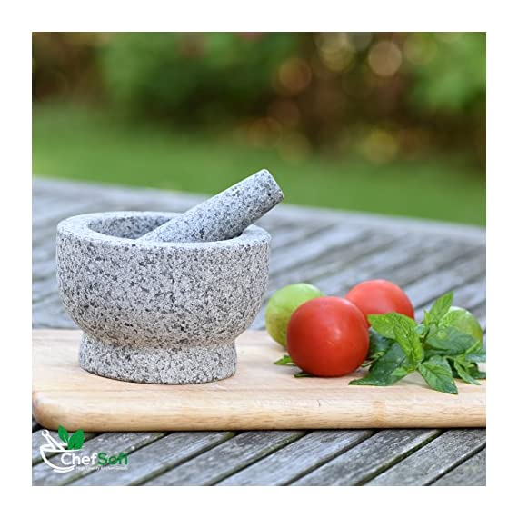 ChefSofi Mortar and Pestle Set - 6 Inch - 2 Cup Capacity - Unpolished Heavy Granite for Enhanced Performance and Organic Appearance - INCLUDED: Anti-Scratch Protector + Italian Recipes EBook 9 A kitchen must-have: Mortar and pestle set (mortero de cocina - morter and pessel - molcajete or guacamole bowl and pestel) has been used for THOUSANDS of years as THE way to crush, grind and powder herbs and dry spices. Contrary to an electric grinder or crusher, the age-old, durable, traditional manual grinding method ensures that all cooking ingredients bring out their full flavor and aroma profiles, allowing you to further control their texture and make delicious, chunk-free dishes. Versatile tool: Take advantage of your brand new stone motar and pedestal set's various applications in the kitchen and simplify your everyday life! Use your mortor to pulverize nuts, seeds, ginger root and garlic and make homemade salad dressing, sauces and condiments, such as fresh mustard, quacamole, pesto, salsa, chutneys and more. Widely used in pharmacies and apothecaries, your molcajete set will help you powder pills, for optimal ingestion, or hide them in your stubborn pet's kibble! Effortless use: This ChefSofi stone mocajetes motor & pedestal set was designed with your convenience in mind. Made from unpolished granite, you will waste no time fumbling or stabilizing your pestal masher, as our motar's cup interior provides the best, metate-like natural friction for swift ingredient crushing, grinding or powdering. With a 500 ml (approx. 2 Cup) capacity, this stone mortor also reduces the need for ingredient refills, affording quick food prep, in one go!