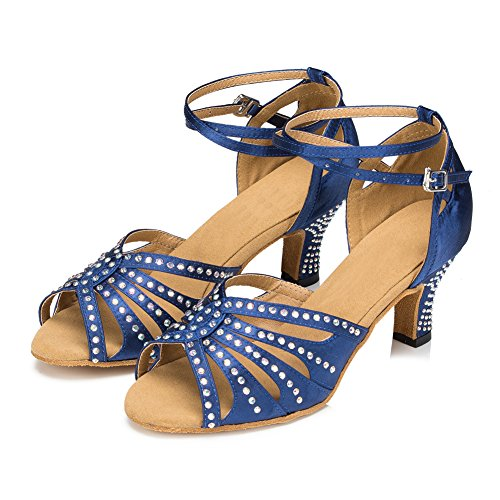 Misu Women's Peep toe Sandals Latin Salsa Tango Practice Ballroom Dance Shoes with 2.7