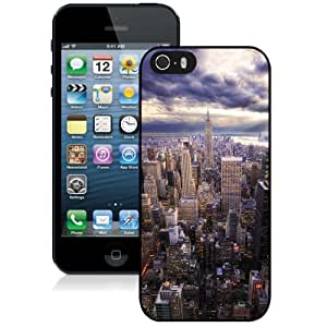 Fashionable Custom Designed iPhone 5S Phone Case With HDR New York Skyline View_Black Phone Case
