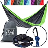 THAT GOOD Hammock Double Camping Hammock w/Hammock Straps & Wiregate Carabiners. Portable Nylon Parachute Hammock Backpacking Camping & Travel (Light Grey & Apple Green)
