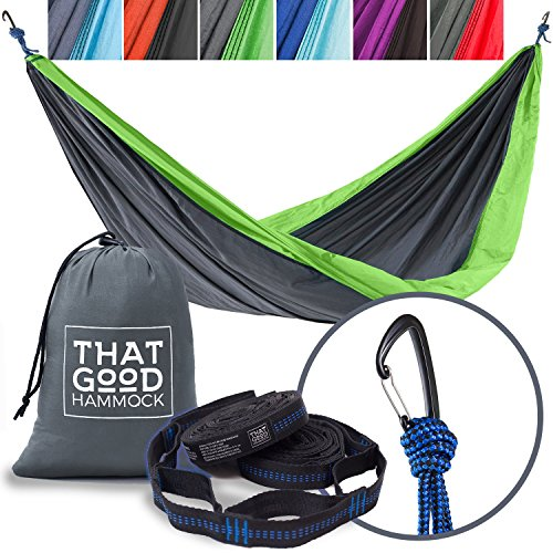 Parachute Nylon Travel Hammock - THAT GOOD HAMMOCK Double Camping Hammock w/ Hammock Straps & Wiregate Carabiners. Portable Nylon Parachute Hammock for Backpacking Camping & Travel (Light Grey & Apple Green)
