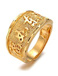 """Halukakah """"GOLD BLESS ALL"""" Men's 18K Gold Plated KANJI Ring """"FORTUNE/SUCCESS/LUCK"""" Set Size Adjustable with FREE GIftbox"""