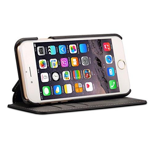 iPhone 7 / iPhone 8 Funda,TOTOOSE PU Caso Caja de cuero carpeta función del soporte del tirón y ranuras tarjeta Cubierta magnética del encierro Para iPhone 7 / iPhone 8-rojo Negro