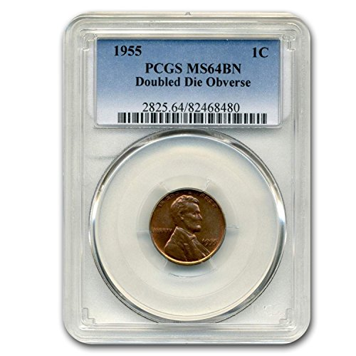 - 1955 Lincoln Cent Double Die Obverse MS-64 PCGS (Brown) Cent MS-64 PCGS