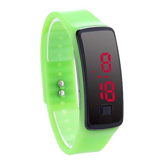 Reloj De Pulsera Demiawaking Moda LED pulsera Relojes digitales Unisex Sports Wristwatch (Verde)