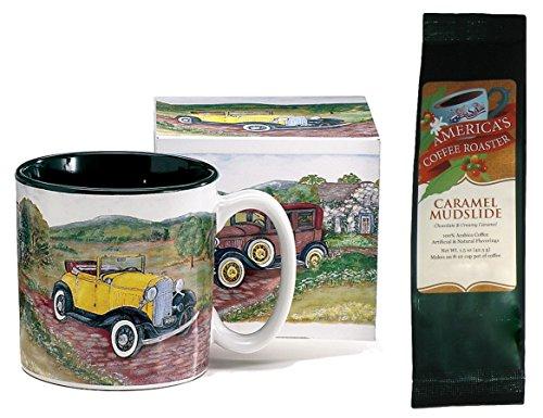 Antique Cars Mug with Caramel Mudslide Coffee Gift Set (2 Items)