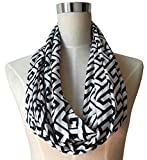 Pop Fashion Womens Greek Key Pattern Infinity Scarf Wrap Scarf with White Zipper Pocket, Infinity Scarves
