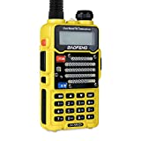 Baofeng Radio US Yellow UV-5R V2+ Dual-Band 145-155/400-480 MHz FM Ham Two-way Radio, Improved Stronger Case, Enhanced Features (UV5RV2YELLOW)