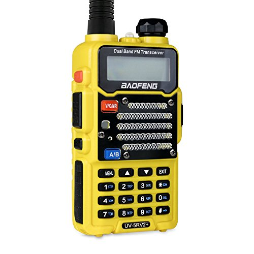 Baofeng Radio US Yellow UV-5R V2+ Dual-Band 145-148/420-450 MHz FM Ham Two-way Radio, Improved Stronger Case, Enhanced Features (UV5RV2YELLOW)