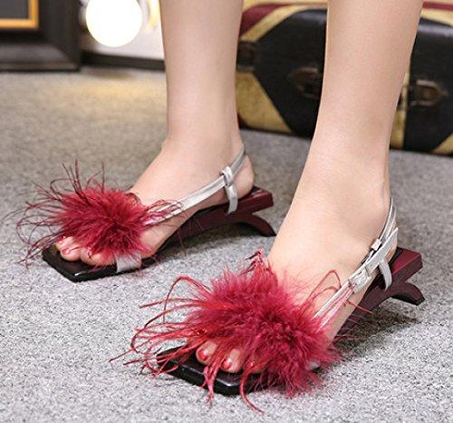 En Linyi Plumes Poilues À Sandales Ladies New Summer Talons Forme De Red Womens rqxwqT1Y