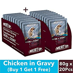 Meat Up Chicken Gravy Supplement, Skin+Coat- 80g, Pack of 10 (Buy 1 Get 1 Free)