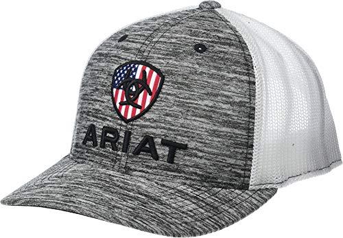ARIAT Men's RWB Shield Logo Flexfit110 Snapback Cap Heather Grey/White One Size