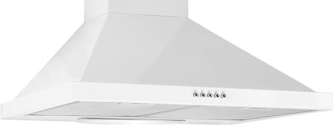 LINKEN LKDM90W – Campana decorativa de pared – 90 cm – Modo mixto con iluminación LED – Controles mecánicos/botones pulsadores – Color blanco: Amazon.es: Bricolaje y herramientas