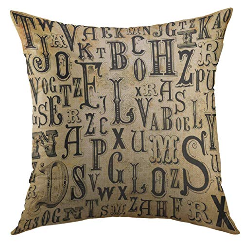 Mugod Pillow Cases Black Vintage Alphabet Steampunk Letter Victorian Gothic Collage Throw Pillow Cover for Men Women Girl Cushion Cover 20x20 ()