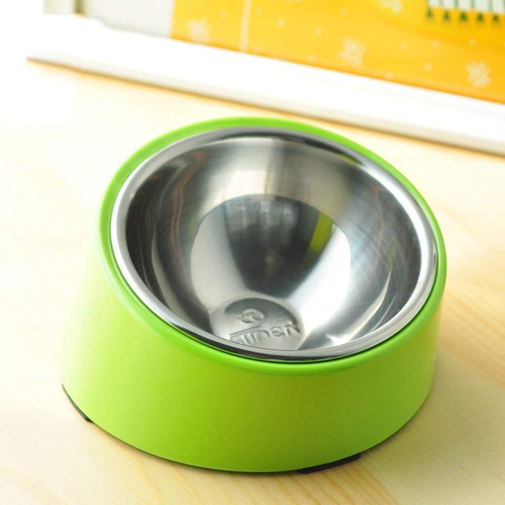 ANDRE HOME Dog Food Bowl Small Medium and Large Dog Stainless Steel Tilt Round Bowl Green Cat Bowl Pet Supplies (Size   L)
