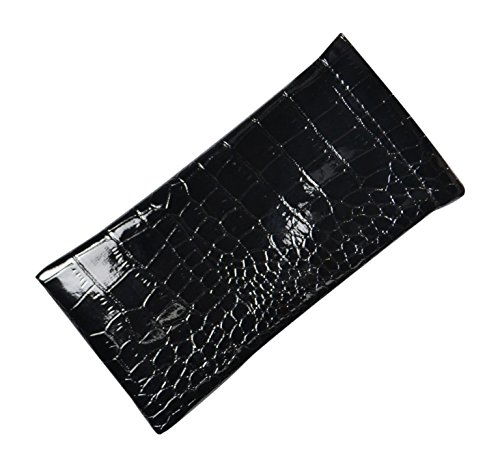 Shiny Patent Leather Eyeglass Case Spring Top Chic Faux Crocodile Black