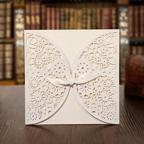 KAZIPA 25 Set Laser Cut Invitation Cards Envelopes Inside Sheets Stickers Lace Kit With Ribbon For Wedding Anniversary Baby Shower Birthday