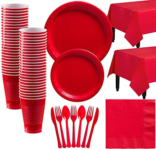 Amscan Red Paper Tableware Kit for 50 Guests, Party Supplies Set, Includes Plates, Cups, Table Covers and More -