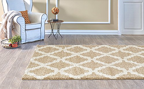 Adgo Infinity Shaggy Collection Moroccan Mediterranean Trellis Lattice Design Vivid Color High Soft Pile Carpet Thick Plush Bedroom Living Dining Room Shag Floor Rug, Camel Ivory, 6' x 9' - Game Dining Collection