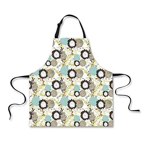 AshasdS Vintage Abstract Pattern of Old Fashioned Exotic Flowers Retro Revival Blossoms Seafoam Brown Green for Kids Women Men Pinafore Barber Waitress Apron