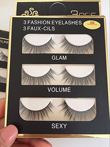 False Eyelashes Party Makeup - Sunniess Hair Fashionable Imported Fiber Handmade Reusable Long Cross 3D Mink False Eyelashes Makeup Natural 3D Fake Thick Black Eye Lashes 3 Pairs(3D-02)