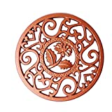 Round Cast Iron Trivet, Metal Hollow Trivet Table Decorative Pot Holder for Hot Dishes, Teapots, and More, Tea Pot Pad, Hot Stand Holder to Protect Counter Tops and Tables(Brown)